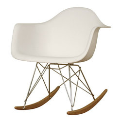 Wholesale Interiors - White Plastic Rocking Chair - Clean, simple form sculpted to fit the body. Wire legs are made from chromed steel features solid ash wood base.