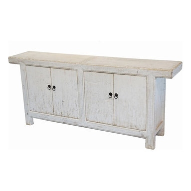 Reclaimed Wood White Sideboard Buffet Media Cabinet - Solid reclaimed wood large sideboard or media cabinet. Hand painted, brass hardware, elm wood.