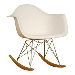 Molded Plastic Rocker, White - Glide.rock.sing or sack out. How many gliders have you seen in friend's room. This high-quality reproduction of rocking chair (also called cradle chair) is something that can be with your family for years to come, perfectly suited to any room of your home. The oringinal rocker is make of fiberglass and steel, but this modern rocker is crafted with recycled polyprolene shell over a very supportive chromed steel base support. This molded shell has a deep seat pocket, integrated armrests and a high backrest. The waterfall seat edge promotes comfortable seating for extended periods of time by reducing pressure on the backs of thighs.