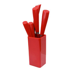 Q Squared NYC - Calla 5-Piece Flatware Set, Red - Inspired by the graceful contours of the calla lily blossom, this handsome five-piece flatware set features ABS plastic handles that are specially treated to preserve their color. Sturdy stainless steel keeps its shape and its shine — even after hundreds of washings. It's a smart, stylish design at a great price!