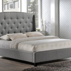 Laguna Tufted Upholstered Platform Bed in Grey Fabric - Set on wenge espresso legs, the Laguna Grey Upholstered Platform Bed fuses timeless elegance with a hint of refined masculinity. Silver nail head trim adds edgy sophistication to the sumptuously cushioned, hand-tufted headboard.