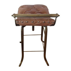 Used Seelbach Industrial Leather Bar Stool - Tufted brown leather compliments the sturdy, yet graceful metal legs. This industrial bar stool has machine age style and classic ruggedness. This adjustable height stool is great for a work table or a counter seat.