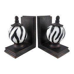 Zeckos - Hand-Painted Zebra Stripe Glass Ball Decorative Bookends - This pair of gorgeous glass ball bookends is the perfect gift for lovers of animal prints. The 4 inch diameter glass balls are hand-painted from the inside with a black and white zebra stripe pattern, and no 2 are exactly alike. The bases of the bookends are made of cold cast resin, as are the caps on top of the glass balls. Each bookend measures 7 1/2 inches tall, 4 inches wide and 6 inches deep. They look great on bookshelves and on top of desks or tables.