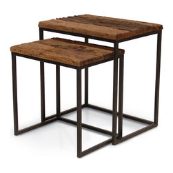 Palecek - Railroad Tie Nesting Tables, Set of 2 - Found railroad tie tops in natural brown tones with highly distressed texture. Some cracking is natural. Wrought iron frame in dark zinc metal finish. Each piece is unique and will vary in color, grain, and texture.