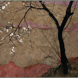 "Concord Global - National Geographic Photographic 4'5"" x 6'1"" Rugs Flowering Plum Tree Beige Flor - A flowering plum tree silhouetted against the faded colors of a wall in Miao Feng Shan Temple, China, makes for a beautiful and elegant photograph."