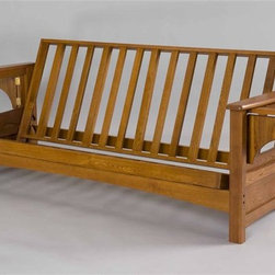 Gold Bond Futon - Burlington Futon Frame (Queen - Cherry Oak) - Finish: Queen - Cherry OakFive support braces back and seat deck and four cross braces. Made from Siberian solid oak. Full Body: 79 in. W  x 38 in. D  x 33 in. H (81 lbs.). Queen Body: 84 in. W  x 38 in. D  x 33 in. H (83 lbs.)