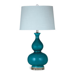 Bassett Mirror - Bassett Mirror Barstow Table Lamp - Make a vibrant statement with the stylishly curved Barstow Table Lamp. Its features include turquoise ceramic with a crackle glaze finish, acrylic base, pale blue drum shade and crystal ball finial. The lamp pairs well with both bold and neutral color schemes. Requires 60 watts or less, bulbs not included.