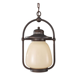 Murray Feiss - Murray Feiss OL9311GBZ Mc Coy 18 High 1 Light Outdoor Hanging LanternDockyard Co - As its name suggests the Dockyard outdoor lighting collection is nautically inspired.  The details of the Oil Can finish on the hardware and cage design, along with the decorative ripple in the White Opal Etched glass shade all hark back to the light fixtures seen in harbors and lighthouses of yesterday.