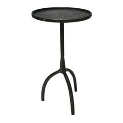 R.T. Facts - Blackened Steel Side Table - This super-strong table would look fantastic supporting a lamp, flowers or a stack of books in your living room or bedroom. The solid, structural aesthetic of the table contrasted with softer accessories would instill a wonderfully eclectic visual in your space.