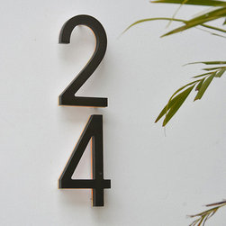 bronze led backlit house numbers 5 outdoor by luxello modern bronze