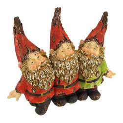 Zeckos - Wooden Look Gnome Buddies Garden Accent - Add an adorable accent to your garden, porch, or patio with this gnome statue. Made of cold cast resin, it measures 8 3/4 inches tall, 10 1/4 inches long, and 3 inches wide. This piece is designed to look as though it has been carved from wood, and has a weathered crackle finish. This happy trio of gnome buddies is sure to be admired, and makes a great gift for a friend or neighbor.