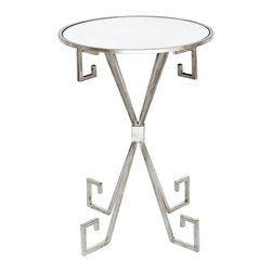 Worlds Away - August S silver leafed side table  Greek key silver leafed table - August S silver leafed side table