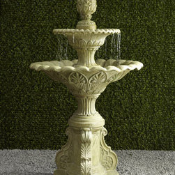 "Horchow - Regency Fountain - Whether you surround this piece with long stone benches or simply leave it as a focal point, it's sure to add a stunning elegant element to your outdoor decor. Handcrafted of agglomerated stone. Hand painted with a khaki green finish. 43.75""Dia. x 74..."