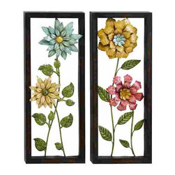 UMA - Preservation of Flowers Two-Panel Metal Wall Hanging - Two panels are framed in black and feature flowers that look almost like those that one might press into a book for a keepsake; beautiful floral accent to liven up any room and add a breath of springtime to your decor