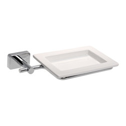 Gedy - Wall Mounted Square Porcelain Soap Dish With Chrome Mounting - Wall mounted square porcelain soap holder or soap dish.