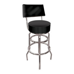 Trademark Global - High Grade Black Padded Bar Stool w Backrest - Sleek and modern, this high quality retro style stool is reminiscent of the 1950's   This fabulous barstool features a padded back for extra seating comfort.  The thickly cushioned upholstery is a commercial grade black vinyl for lasting durability.  The sturdy, double-rung design base makes this handsome stool ideal for residential or industrial settings. Adjustable levelers. Backrest for added comfort . Great for gifts and recreation decor. 7.50 in. High padded seat. 30 in. High bar stool great for bar pub table and bars (40 in. tall with backrest). Commercial grade vinyl seat. Chrome plated double rung base. 14.75 in. W x 14.75 in. D x 40 in. H (25 lbs.)This Bar Stool will be the highlight of your bar or game room. This is a very high quality stool with a comfortable padded seat that swivels 360 degrees. A backrest has been added for ultimate comfort.