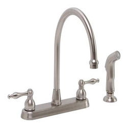PREMIER - Wellington Ceramic Disc Kitchen Faucet With Teapot-Style Handles And Sprayer Bru - Dependable Ceramic Disc Technology|Teapot Style Metal Handles Features High Rise Spout and Matching Sprayer|Brushed Nickel - Manufacturer: Premier Faucet - ELECTRICAL - WIRING - CORDS & TAPS - SURGE PROTECTORS.