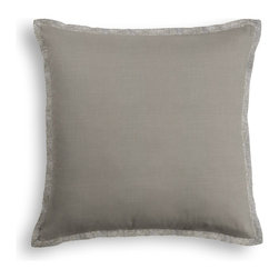 Slate Gray Fine-Woven Linen Tailored Pillow - The Tailored Throw Pillow is an updated, contemporary pillow style with the center fabric framed by a thin contrast flange.  Voila! -it's artwork for your couch!  We love it in this medium gray super soft lighweight linen blend with the finest texture.