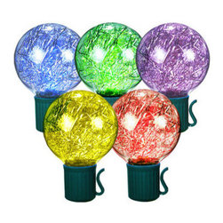 Globe Shaped LED Light Strings - Create a striking lighting design for your home or office with tinsel-filled multi-colored globe LED Christmas lights. The 25 acrylic G40 bulbs are yellow, green, blue, red, and purple. They are spaced 12 inches apart on 25 feet of green wire and come with miniature clips making them ideal to decorate trees and fences. UL listed for indoor/outdoor use, 32 sets can be combined safely end-to-end. Let these cool to the touch and energy efficient lights bring lighting drama to your holiday lighting.