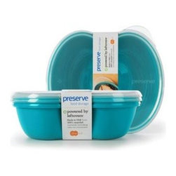 Preserve Small Square Food Storage Container - Aqua - 2 Pack - Powered by Leftovers