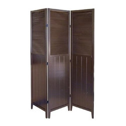 ORE International - 3-Panel Folding Wood Room Divider - Louvered tops and bead-board panels. Hinged sections flex and fold. Dry dust. Sleek and stylish. Made from rubber wood. No assembly required. 50 in. L x 6 in. W x 70 in. H (25 lbs.)Classic design meets clean sensibility with this cottage-style screen. This intriguing room divider will be a versatile addition to any decor. Perfect way to add architectural interest to any room of your home.