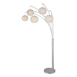 Lite Source - Lite Source LS-8872PS/WHT 5 Light Arch Lamp Polished Steel with White Shade from - 5 Light Arch Lamp Polished Steel With White Shade from the Deion Series