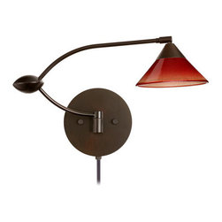 Besa Lighting - Besa Lighting 1WU-117681-CP Kona 1 Light Swing Arm Halogen Wall Sconce - The Kona pendant features a wide cone-shaped glass, that demonstrates contemporary sensibilities. Our Sunset glass is a subtly prismatic pressed glass that features a translucent mix of deep red, which transitions to a lighter red from top to bottom. This decor is energetic and can be used in various ways. When lit this gives off a light that is functional and vibrant. This glossy handcrafted glass uses a process where every glass is consistently produced using a press mold, keeping variations to a minimum. The swing arm fixture includes a 12V electronic transformer and integrated full-range rotary dimmer. The adjustable arm assembly allows for 155 degree rotation and pivots at the clamshell-shaped center connection.Features: