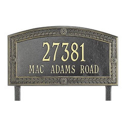 Frontgate - Hamilton Standard Address Plaque - Frontgate - Each arching address plaque features a rustproof aluminum casting with a fused enamel powdercoated finish that performs beautifully. Personalize with up to 5 numerals on first line and 17 letters on second. Includes wall-mount hardware or stakes for in-ground installation. Please check for accuracy; personalized orders cannot be modified, cancelled, or returned after being placed. Our Hamilton Address Plaques are crafted of sturdy cast-aluminum to resist weather's worst.. . . . Made in USA. A Frontgate exclusive.