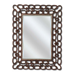 Paragon Decor - Mottled Copper Links - Mottled copper links are interlaced for an upscale industrial look.  (Mirror size 36h x 24w)
