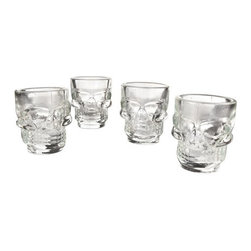 Cranial Hazard Shot Glasses - Set of 4 - Drinking anything from a skull makes it taste ten times better, right? We dare you to take a shot from these Cranial Hazard shot glasses. They're great for Halloween parties, decoration, or (clearly) everyday use. These shot glasses are a perfect fun gift and a sure topic of conversation in the room.