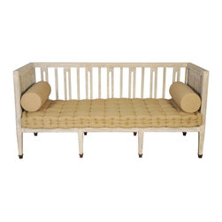 NOIR - NOIR Furniture - GOTTEBORG SETTEE WHITE WEATHERED - OF174WW - Featuring natural, simple and classic designs, Noir products supply a timeless complement to a variety of interiors. A playful seating option for an informal living room, the Gotteborg settee's uniquely carved back and side panels intrigue with geometric interest. Its tufted burlap seat cushion and two loose bolsters provide comfortable seating, while the loveseat's white weathered wood mahogany frame creates a rustic feel.