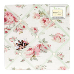 Sweet Jojo Designs - Riley's Roses Fabric Memo Board - The Riley's Roses Fabric Memo Board with button detail is a great way to display photos, notes, and postcards on your child's wall. Just slip your mementos behind the grosgrain ribbon to create an engaging piece of original wall art. This adorable memo board by Sweet Jojo Designs is the perfect accessory for the matching children's bedding set.