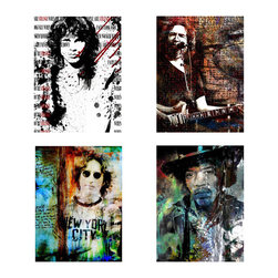 Ready2hangart - Alexis Bueno 'Rock Stars' 4-piece Canvas Wall Art - Artist: Alexis Bueno Title: Rock Star Product type: Gallery Wrapped Canvas Set