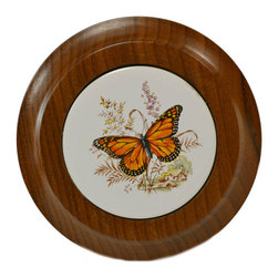 Lavish Shoestring - Consigned Wooden Teapot Stand with Ceramic Inlay, Vintage English - This is a vintage one-of-a-kind item.