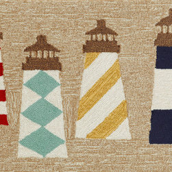 "Trans-Ocean - 24""x36"" Frontporch Lighthouses Natural Mat - Richly blended colors add vitality and sophistication to playful novelty designs.Lightweight loosely tufted Indoor Outdoor rugs made of synthetic materials in China and UV stabilized to resist fading.These whimsical rugs are sure to liven up any indoor or outdoor space, and their easy care and durability make them ideal for kitchens, bathrooms, and porches. Made in China."
