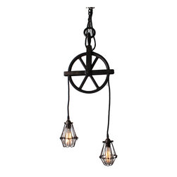 """Hand Made - Well Pulley Chandelier with Cage Pendants in Black Aged Steel - Two light pendant crafted from a 10"""" aged well pulley. Pendants hang from cloth covered cord and can be easily be adjusted by turning wheel.  All new electrical components with cloth covered UL wire and sockets.  Includes 3ft of chain. Includes a matching canopy and all components for hard wire install.  Light can also be swagged if desired.  Fixture can accommodate up to two (2) 75W bulbs, not included."""