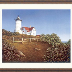 Amanti Art - Wood's Hole Lighthouse Framed Print by Daniel Pollera - Daniel Pollera captures the nuances of a oceanside retreat in this art piece. The amazing detail of this rural landscape adds a sense of freshness to any space.