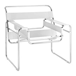 Modway - Slingy Chair In Genuine White Leather - Eei-563-Whi - Chrome-Finished Frame