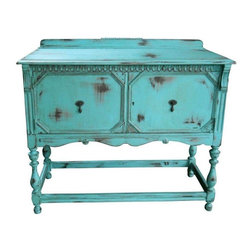 Vintage Painted Aqua Sideboard Server - Rustic farmhouse at its best! This piece was built in the 30s, a depression server which has stood the test of time. It has been lovingly updated with a layered distressed treatment to give it a time worn look in shades of aqua, grey and natural wood. It is aged to perfection and sealed with a durable wax finish.