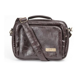 Ju Ju Be Diaper Bags - On Sale GigaBe Laptop Bag in Brown Earth Leather with Teal Lining - GigaBe Laptop Bag in Brown Earth Leather with Teal Lining