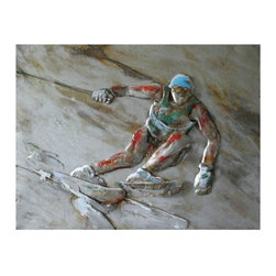 Yosemite - Yosemite PAP110601 Diversion 2 Wall Art - Yosemite PAP110601 Diversion 2 Wall ArtThis is a hand painted picture of skier headed downhill. Colors include hues of white, copper, red, green and blue.Yosemite PAP110601 Features: