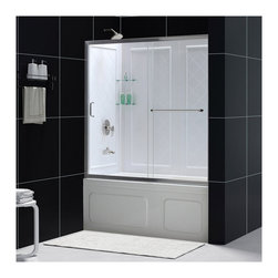 BathAuthority LLC dba Dreamline - Infinity-Z Frameless Sliding Tub Door and Qwall-Tub Backwalls Kit - The infinity-Z tub door and Backwall Kit offers a beautiful solution for a bathroom remodeling project. The sliding tub door is paired with a stationary glass panel to provide a comfortably wide bath entry. The stationary panel of the infinity-Z sliding tub door is fitted with a convenient towel bar that doubles as a handle. The kit pairs the sliding tub door with versatile Backwall panels made from durable Acrylic/ABS advanced materials. The tub wall panels have an attractive tile pattern and are easy to install with a Trim-to-size fit. Transform your bath tub space with an efficient and cost effective kit from DreamLine.