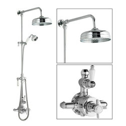 Hudson Reed - Ceramic & Chrome Thermostatic Shower System with Rose Head and Grand Riser Kit - The Hudson Reed Traditional Grand Rigid Riser Kit with Twin Thermostatic Shower Faucet Valve complements the appearance of any bathroom furnished in traditional style.