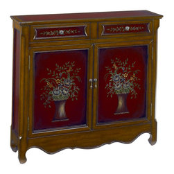 Hammary - Hammary 090-314 Hidden Treasures Bouquet Accent Chest with Hand Painted Flower - Add a splash of personality to your home with this beautifully crafted and painted Flower Bouquet Accent Chest. The cabinet is made from poplar solid and features hand painted flower bouquet designs on its two cabinet doors. Capital corner edges as well as a curvaceous bottom apron add to the traditional appeal of this feminine cabinet. Place it in a foyer, living room or bedroom for a great place to store away both small or large belongings in the Two drawers or shelves behind the doors. A timeless design for a vintage look, your home is sure to standout with the handcrafted charm of this accent chest.