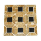 Honey Polished 3D Pattern Mesh-Mounted Onyx Tile - Black Granite Insert - Honey Mesh-Mounted 3 Dimensional Pattern Onyx Mosaic Tile 1 in. Black Granite Insert is a great way to enhance your decor with a traditional aesthetic touch. This polished mosaic tile is constructed from durable, impervious onyx material, comes in a smooth, unglazed finish and is suitable for installation on floors, walls and countertops in commercial and residential spaces such as bathrooms and kitchens.