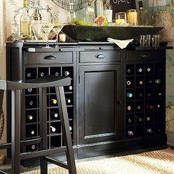 """Modular Bar Buffet, Black - A stylish alternative to built-in cabinetry, the Modular Bar Buffet organizes, stores and displays your entertaining essentials. 54"""" wide x 13.5"""" deep x 36"""" high Crafted of mahogany, hardwood and mahogany veneers. Set includes 2 Wine Grid Bases and 1 Cabinet Base. Each wine-grid base accommodates 24 bottles. Each base has a breadboard pullout and a drawer for accessories. Wood swatches, below, are available for $25 each. We will provide a merchandise refund for wood swatches if they're returned within 30 days. Catalog / Internet Only. View our {{link path='pages/popups/fb-dining.html' class='popup' width='480' height='300'}}Furniture Brochure{{/link}}."""