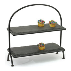 Go Home - Slate Tiered Stand - Wonderfully crafted slate top and Slate plant stand that is perfect for any kitchen, nook, or patio in the home. All the Slate has natural finish which gives the product a distinct look. The nicely sculpted slate frame adds to the beauty of this unit.