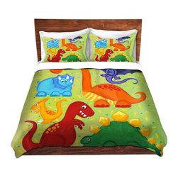 DiaNoche Designs - Duvet Cover Twill - Dinosaur Jumble - Lightweight and super soft brushed twill Duvet Cover sizes Twin, Queen, King.  This duvet is designed to wash upon arrival for maximum softness.   Each duvet starts by looming the fabric and cutting to the size ordered.  The Image is printed and your Duvet Cover is meticulously sewn together with ties in each corner and a concealed zip closure.  All in the USA!!  Poly top with a Cotton Poly underside.  Dye Sublimation printing permanently adheres the ink to the material for long life and durability. Printed top, cream colored bottom, Machine Washable, Product may vary slightly from image.