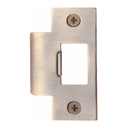 Renovators Supply - Door Latches Antique Brass 2 3/4'' H Antique Brass T Door Strike | 10470 - Decorative brass strike. The strikeplate is 1/8 in. thick and 2 3/4 in. high. Holes fit most locks.