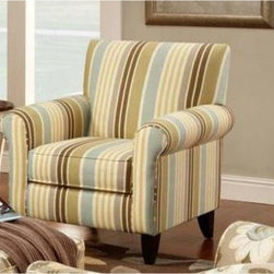 "Chelsea Home Hudson Accent Chair - Zola Flax - Colorful and pleasing to the eye, a striped pattern integrates dark reds, subtle pastels, shades of tan and cream to make this Chelsea Home Hudson Accent Chair - Zola Flax a bold, fun addition to your living room or lounge area. Although the pattern of this accent chair runs somewhat out of the box, it is traditional in its style, with high back support, two rolled armrests and a solid wood frame with visible legs that offer further support. The seat cushion was constructed from 1.8 density foam and features an innovative sinuous spring system that ensures comfort but also prevents against that draining, ""sinking in"" feeling – so you'll feel awake and attentive when working on your laptop or conversing with friends over coffee. The chair measures a spacious 37 inches wide with an ample 32-inche depth.About Chelsea Home FurnitureProviding home elegance in upholstery products such as recliners, stationary upholstery, leather, and accent furniture including chairs, chaises, and benches is the most important part of Chelsea Home Furniture's operations. Bringing high quality, classic and traditional designs that remain fresh for generations to customers' homes is no burden, but a love for hospitality and home beauty. The majority of Chelsea Home Furniture's products are made in the USA, while all are sought after throughout the industry and will remain a staple in home furnishings."